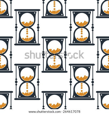 Hourglass or sandglass seamless pattern for wallpaper or background design - stock vector