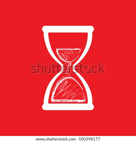 hourglass sign. hourglass icon isolated on the red background
