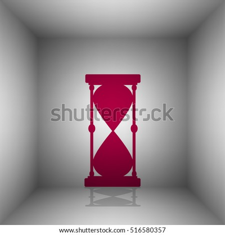 Hourglass sign illustration. Bordo icon with shadow in the room.