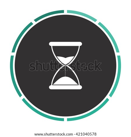 hourglass Simple flat white vector pictogram on black circle. Illustration icon