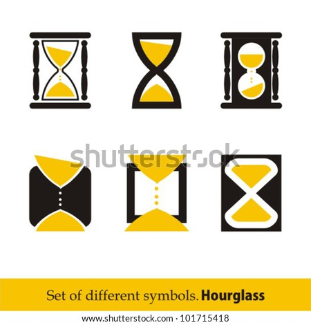 Hourglass symbols and icons for time concept and design - stock vector