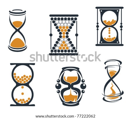 Hourglass symbols and icons for time concept and design or logo template. Jpeg version also available - stock vector