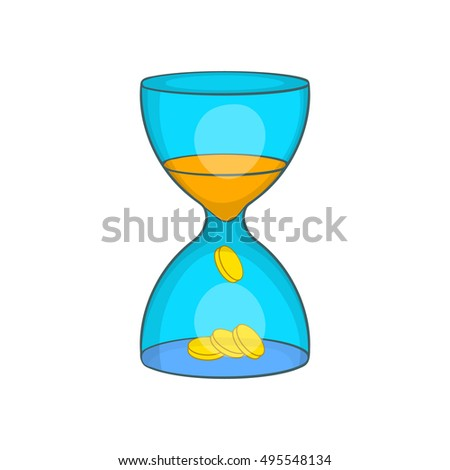 Hourglass, time is money icon in cartoon style isolated on white background vector illustration