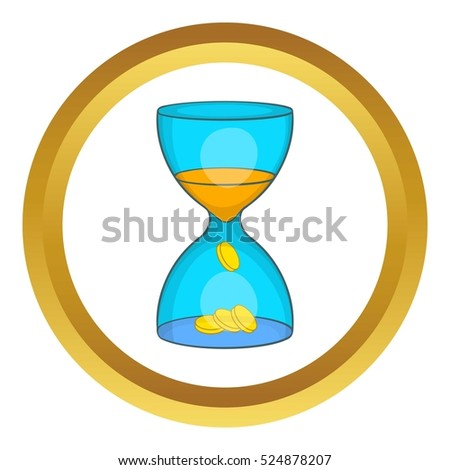 Hourglass, time is money vector icon in golden circle, cartoon style isolated on white background