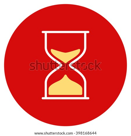 Hourglass vector icon. Image style is a flat light icon symbol on a round red button