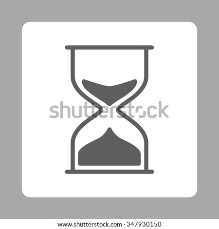 Hourglass vector icon. Style is flat rounded square button, dark gray and white colors, silver background.