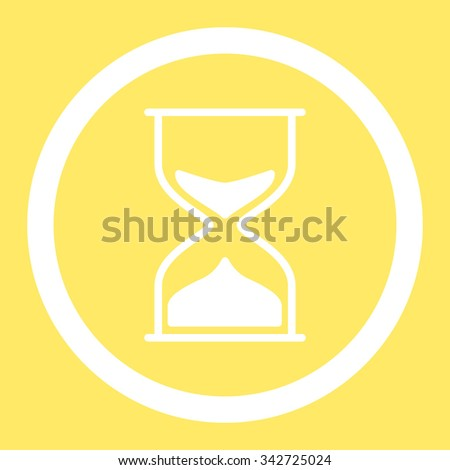 Hourglass vector icon. Style is flat rounded symbol, white color, rounded angles, yellow background.