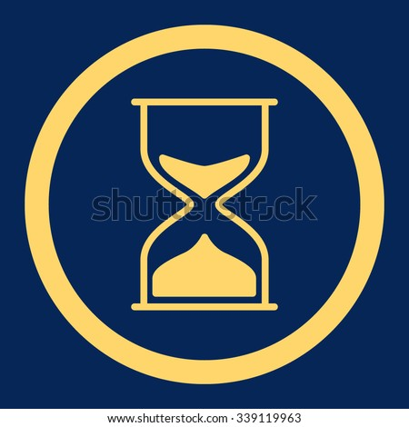 Hourglass vector icon. Style is flat rounded symbol, yellow color, rounded angles, blue background.