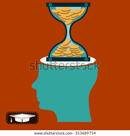 Hourglass with gold coins in head. Time is money. A Deposit in the Bank. - stock vector