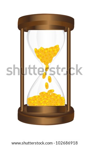 hourglass with gold coins isolated over white background. vector - stock vector