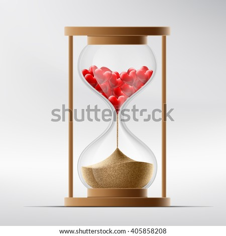 Hourglass with human hearts. Disease a myocardial infarction and death. Stock vector illustration. - stock vector