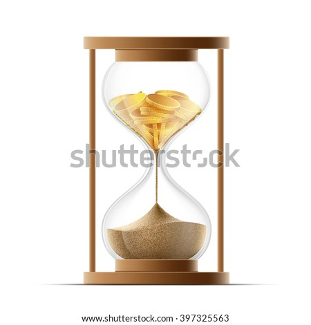 Hourglass with sand and gold coins. Bankruptcy and devaluation. Stock vector illustration.