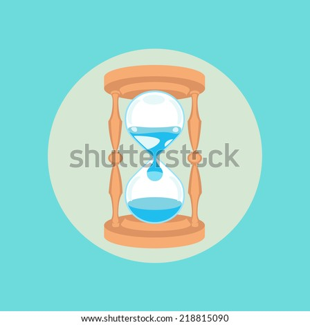 hourglass with water dripping flat design vector icon
