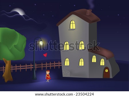 house a lantern and the little girl with a balloon