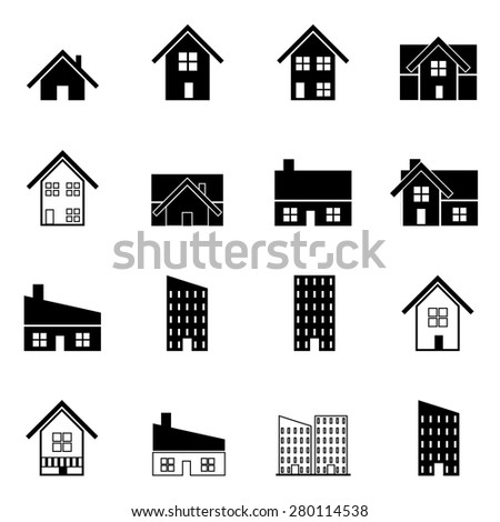 house and building real estate icons set vector illustration For Mobile, Web And Applications - stock vector