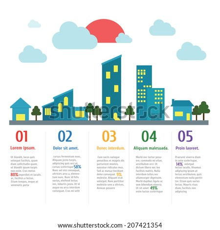 House and City Banner Infographic,vector,illustration. - stock vector