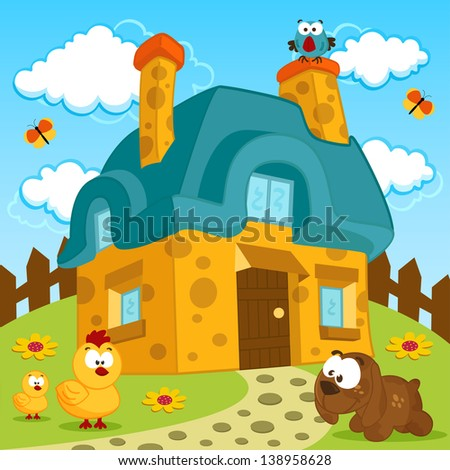 house and cute pets - stock vector