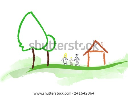 house and family - stock vector
