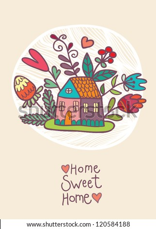 House and flowers card - stock vector