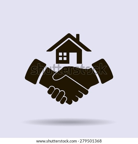 house and hand vector icon - stock vector
