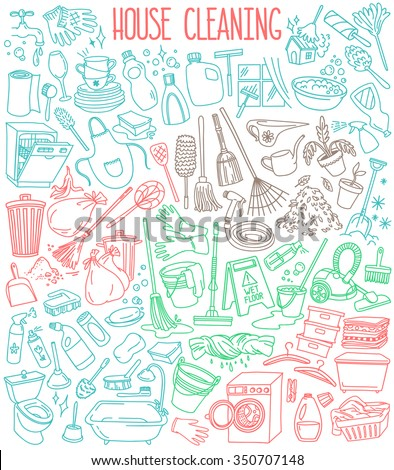 House and home cleaning themed doodle set. Various equipment, tools and  facilities for washing, dusting, cleaning. Freehand vector sketches isolated over white background. - stock vector