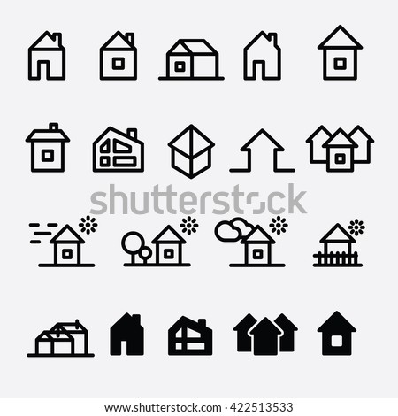 House and Home icon set vector collection. Buildings and village icons.