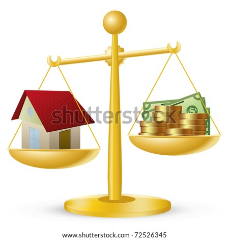 House and money on scales - stock vector