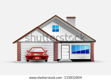 House and red sports car near garage - stock vector
