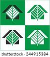 House and tree.  Several color options. Color versions. Icon, logo design. - stock vector