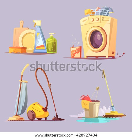 House apartments cleaning janitor services cartoon retro style 4 icons set with washing machine abstract vector illustration  - stock vector