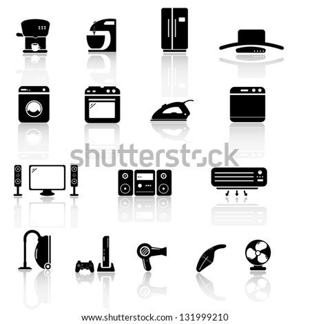 House appliance, icon set - stock vector