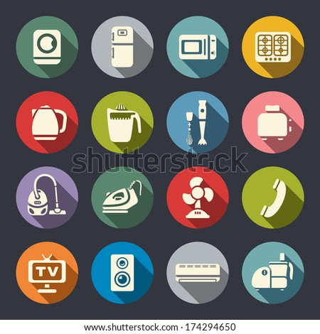 House appliances icon set - stock vector