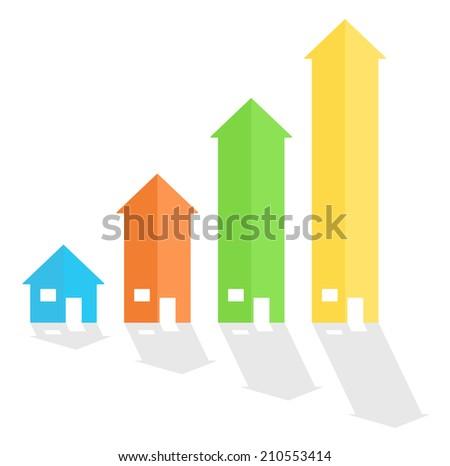 House arrow graph chart diagram - stock vector