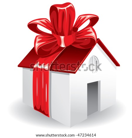 House as a gift for you. Vector image. - stock vector
