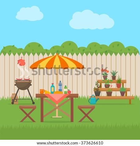 Backyard Stock Images RoyaltyFree Images Vectors Shutterstock - Backyard bbq party cartoon