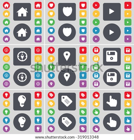 House, Badge, Media play, Compass, Checkpoint, Floppy, Light bulb, Tag, Hand icon symbol. A large set of flat, colored buttons for your design. Vector illustration - stock vector