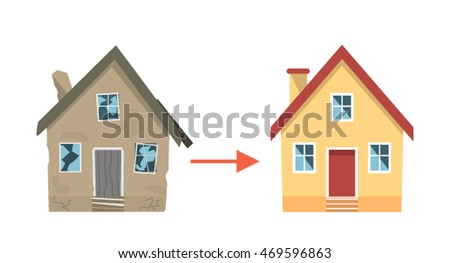 "House ""before"" and ""after"" repair. flat vector illustration isolated on white background"