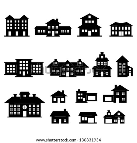 House Black And White Set Stock Vector