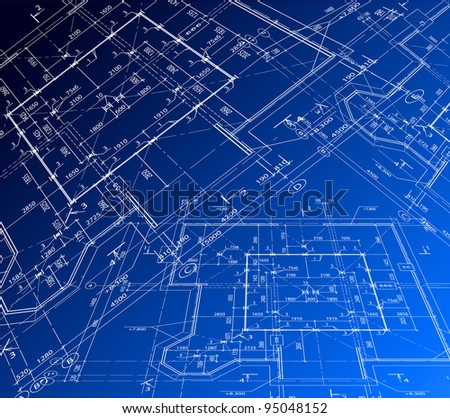 House blue plan. Vector blueprint