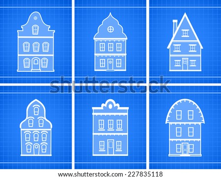 House blueprint icons vector illustration. - stock vector