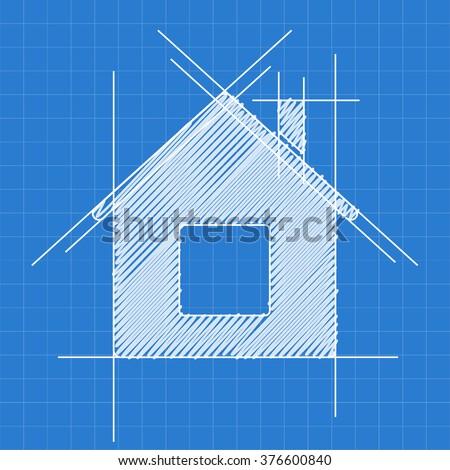 House blueprint logo sketch vector de stock376600840 shutterstock house blueprint logo sketch malvernweather Image collections
