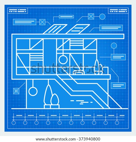 House blueprint scheme. Vector. - stock vector