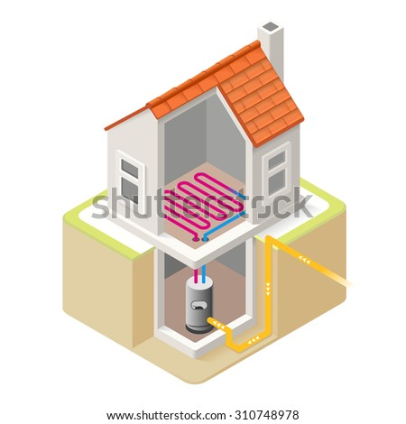 House Boiler Floor Heating Infographic Icon Concept Isometric 3d Soften Colors Elements Electric Boiler Heat Providing Chart Scheme Illustration Vector JPEG JPG EPS Image Drawing AI Object Picture - stock vector