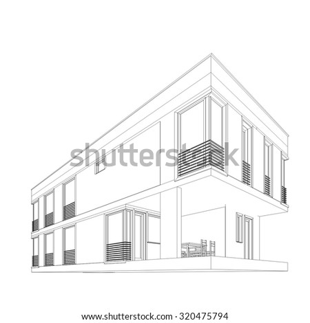 house building architecture - stock vector