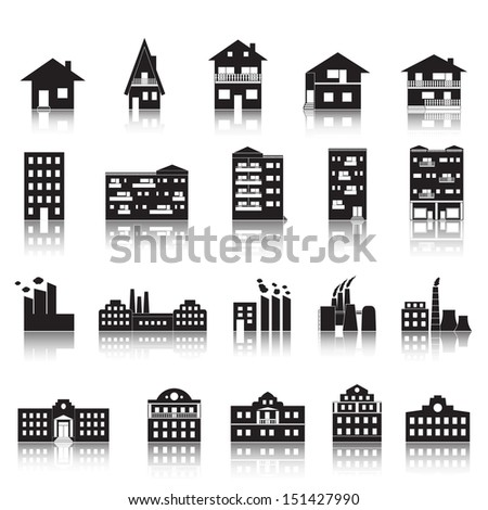 House, Building, Factory And Palace Icons Set - Isolated On White Background - Vector Illustration, Graphic Design Editable For Your Design. House Logo - stock vector