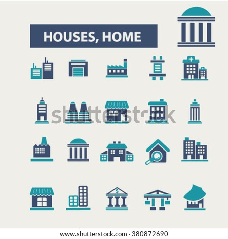 house, building icons - stock vector