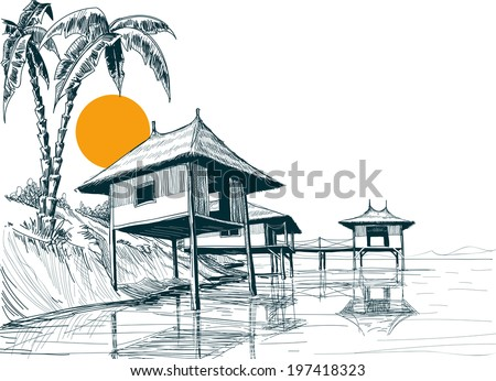Beach Drawing Stock Images Royalty Free Images Vectors