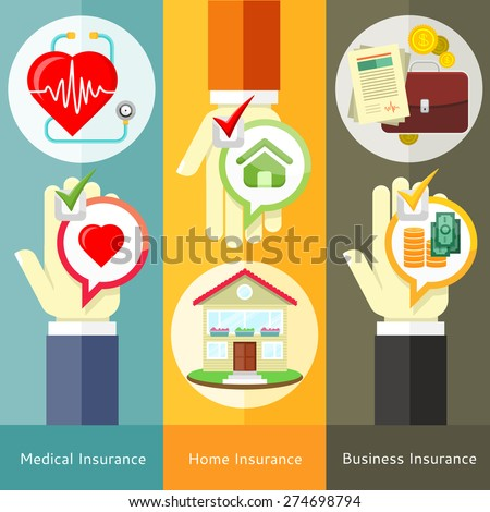 House , business, medical and health insurance concept in flat style on banners with text and buttons. Can be used for web banners, marketing and promotional materials, presentation templates  - stock vector