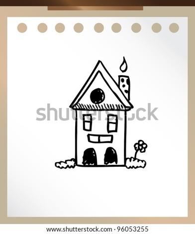 house cartoon hand drawn doodle - stock vector
