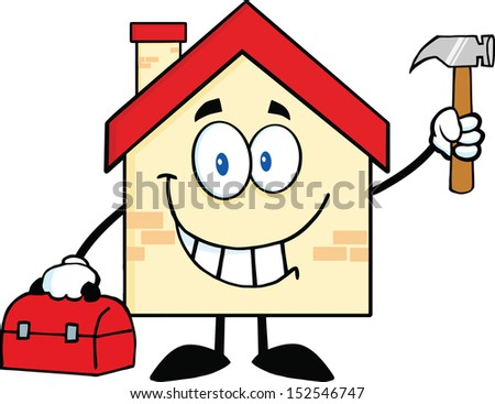 House Cartoon Mascot Character Worker With Tool Box And Holding Up A Hammer